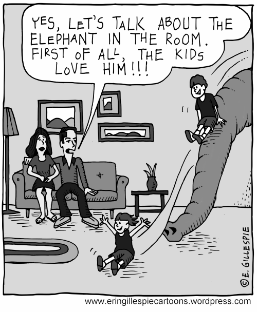 A cartoon involving The Elephant in the Room
